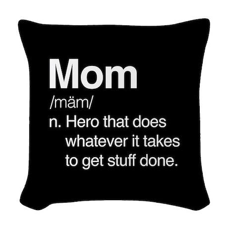 Mom Hero Woven Throw Pillow