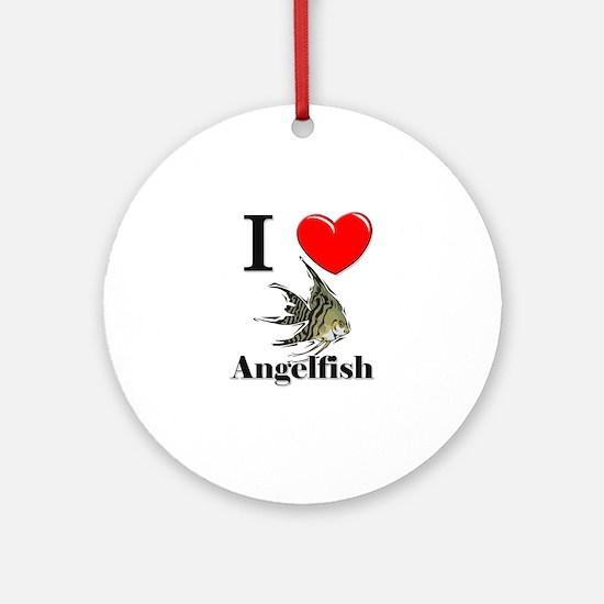 I Love Angelfish Ornament (Round)
