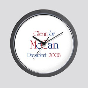 Glenn for McCain 2008 Wall Clock
