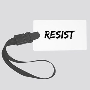 Resist In Black Text Large Luggage Tag