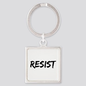 Resist In Black Text Keychains