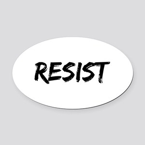 Resist In Black Text Oval Car Magnet