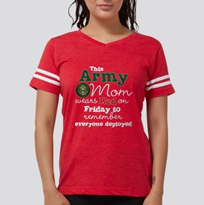 Army Mom Wears Red on Friday Womens Football Shirt