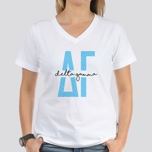 Delta Gamma Polka Dots Women's V-Neck T-Shirt