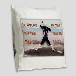 Softball Crazy Burlap Throw Pillow