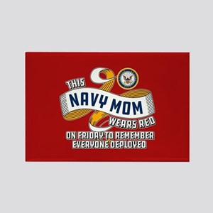 Navy Mom Wears Red on Friday Rectangle Magnet