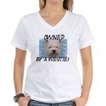 Owned by a Westie Women's V-Neck T-Shirt