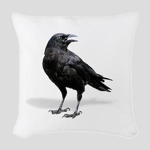 Black Crow Woven Throw Pillow