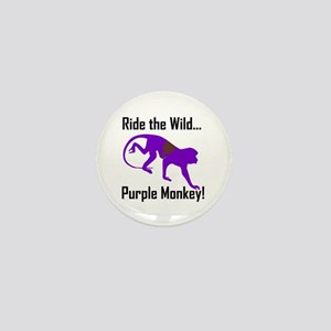 Ride the Wild Purple Monkey Mini Button