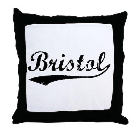 Vintage Bristol (Black) Throw Pillow
