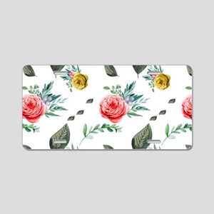Red Floral and Green Leaves Aluminum License Plate