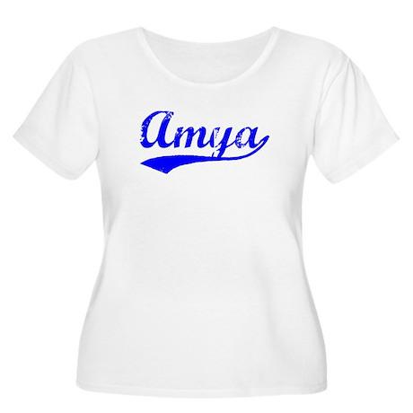 Vintage Amya (Blue) Women's Plus Size Scoop Neck T
