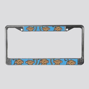 Cute Monkey Couple License Plate Frame