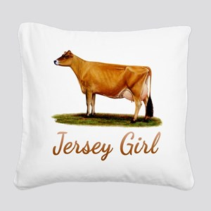 A Real Jersey Girl Square Canvas Pillow