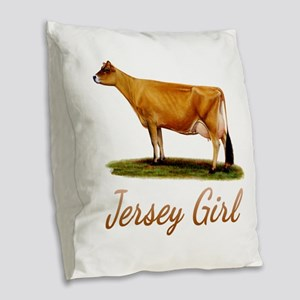 A Real Jersey Girl Burlap Throw Pillow