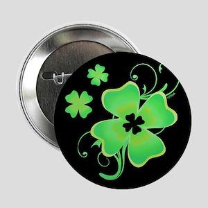 """Pretty Irish Four Leaf Clover 2.25"""" Button"""