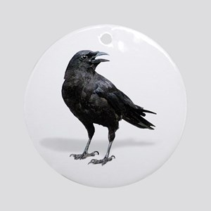 Black Crow Round Ornament