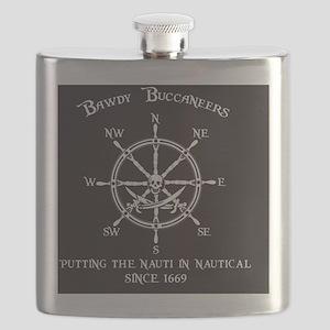 Bawdy Buccaneers Logo Flask