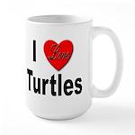 I Love Turtles Large Mug
