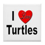 I Love Turtles Tile Coaster