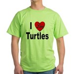 I Love Turtles Green T-Shirt