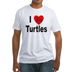 I Love Turtles (Front) Fitted T-Shirt