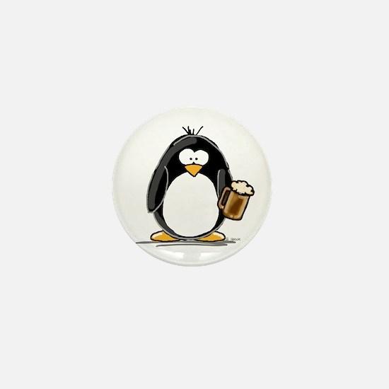 Beer Drinking Penguin Mini Button