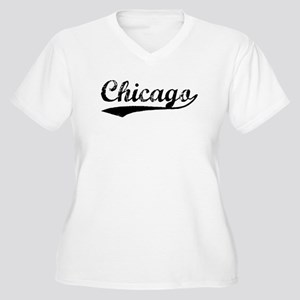 Vintage Chicago (Black) Women's Plus Size V-Neck T