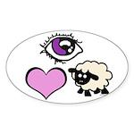 Eye Love Ewe Sticker (Oval)
