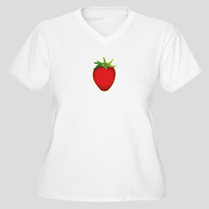Strawberry Women's Plus Size V-Neck T-Shirt