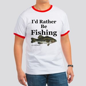 """""""I'd Rather Be Fishing"""" Bass Ringer Tee"""