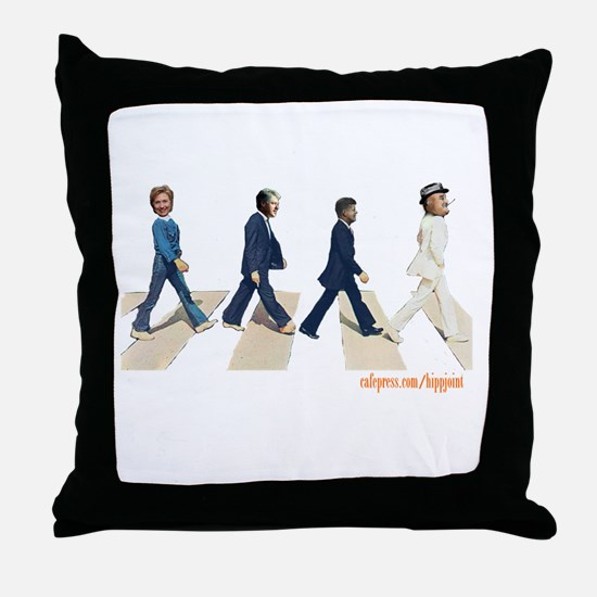 Hillary,Bill,JFK,FDR on Abbey Throw Pillow