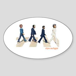 Hillary,Bill,JFK,FDR on Abbey Oval Sticker