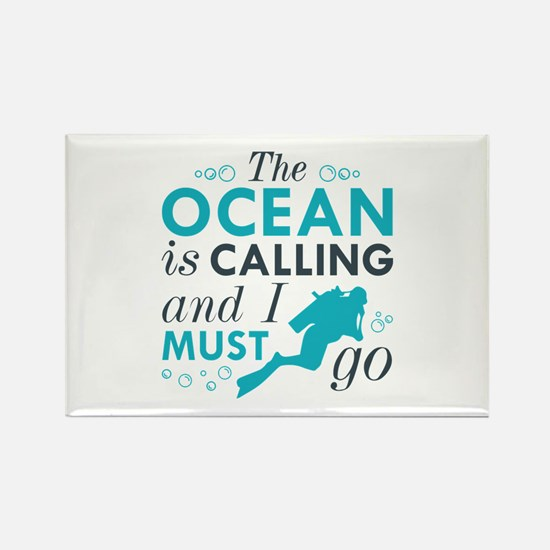 The Ocean Is Calling Rectangle Magnet