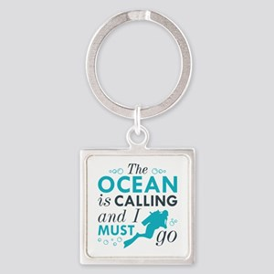 The Ocean Is Calling Square Keychain