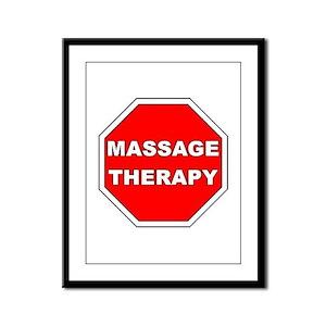 Stop Massage Sign Framed Panel Print