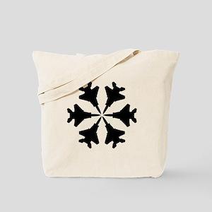 F-15 Aviation Snowflake Tote Bag