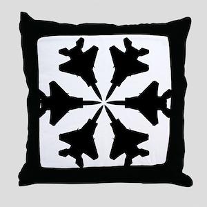 F-15 Aviation Snowflake Throw Pillow
