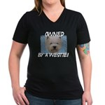 Owned by a Westie Women's V-Neck Dark T-Shirt