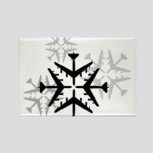 B-52 Aviation Snowflake Rectangle Magnet