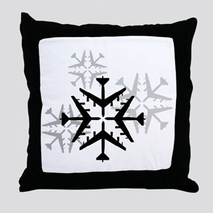B-52 Aviation Snowflake Throw Pillow