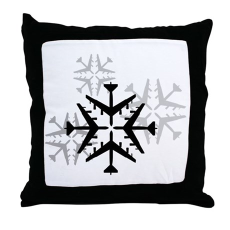 B-52 Aviation Snowflake Throw Pillow