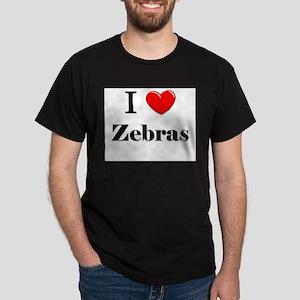 I Love Zebras Dark T-Shirt