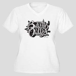 ZISTO WHITE BO Women's Plus Size V-Neck T-Shirt