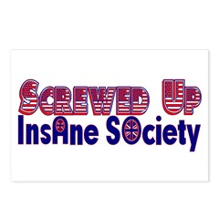 Screwed Up insane society Postcards (Package of 8)