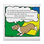 Agility Corgi Cartoon Tile Coaster