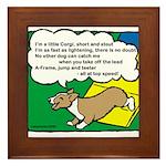 Agility Corgi Cartoon Framed Tile