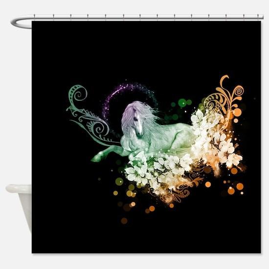 Wonderful unicorn with flowers Shower Curtain