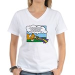Obedience Corgi Cartoon Women's V-Neck T-Shirt