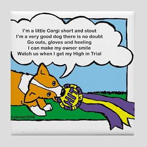 Obedience Corgi Cartoon Tile Coaster